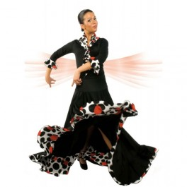 Falda Flamenco Canesu que Entalla la Cadera con Vuelo de Capa y dos Volantes