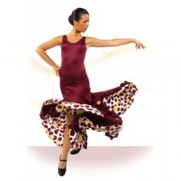 Vestido Tirante Ancho Escote Redondo Entallado a Medio Muslo con Godets y Volante