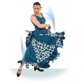 Vestido Flamenco de Tirante Ancho Escotes Pico. Godets Entallado 1/2 Cadera