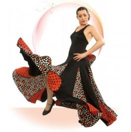 Vestido Flamenco de Escote Redondo Delante y Recto a la Espalda con 6 Tirantes Cruzados