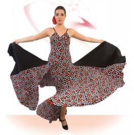 Vestido Flamenco Tirante Fino Escote Pico con Frunce Entalla a Cadera 8 Palas