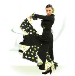 Vestido Flamenco con Escote Redondo Delante y Recto a la Espalda con 6 Tirantes Cruzados