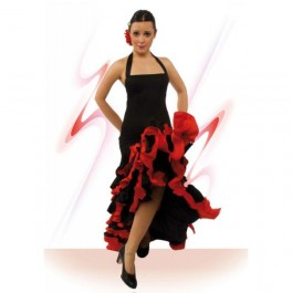 Vestido Flamenco con Escote Palabra Honor Espalda al Aire Entallado a Medio Muslo Vuelo Capa con Colin y 8 Volantes