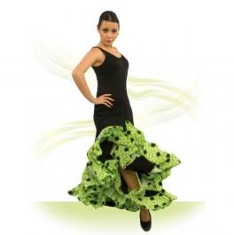 Vestido Flamenca con Tirante Ancho Escote Redondo, Entallado a Medio Muslo con Godets