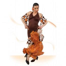 Vestido Flamenca Cogido al Cuello Fruncido Delante y Detras