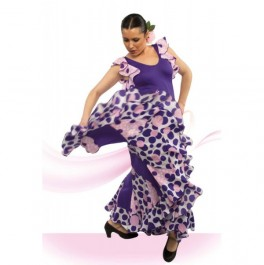 Vestido Flamenco con Tirante Ancho y Volante Sisas Escote Redondo Entallado