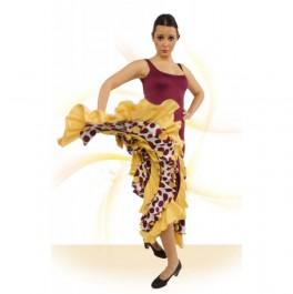 Vestido Flamenca con Tirante Ancho, Escote Cuadrado, Entallado a Medio Muslo Vuelo De Capa Con 6 Volantes