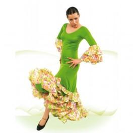Vestido Flamenca con Manga al Codo con 2 Volantes, Entallado a Cadera, 3 Volantes