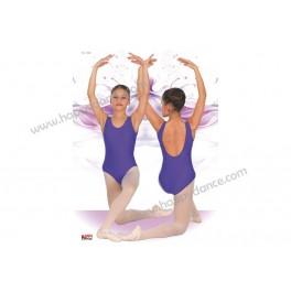 Maillot de Ballet Clásico de Tirante Ancho y Escote Espalda muy Bajo