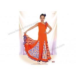 Vestido Flamenco 6 Godets y 2 Volantes, Escote Sesgado con Tirante Ancho Derecho y2 Volantes en Izquierdo