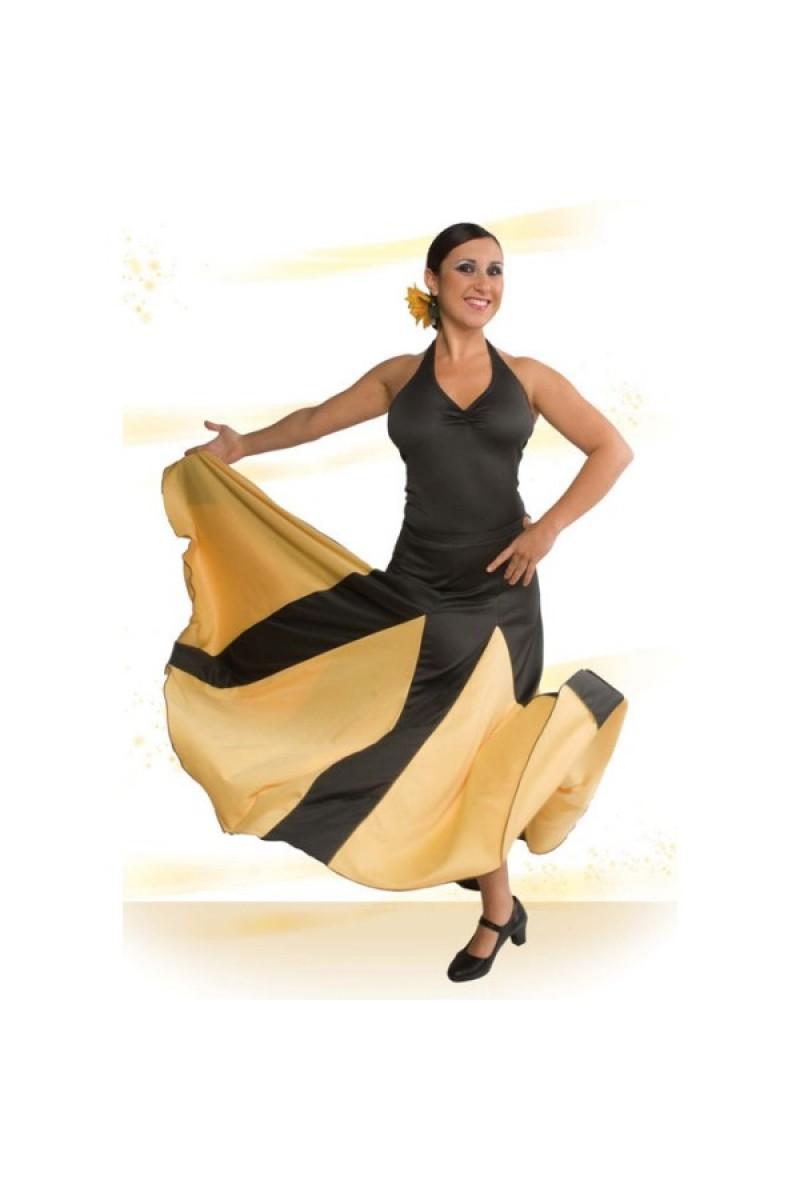 badb9e649 Falda Flamenco Palas y Godet Grandes. Entallada a Media Cadera con ...