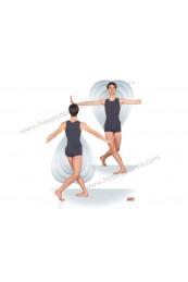 Maillot de Ballet Entero Short 1/2 Muslo con Tirante y Escotes Cerrados sin Mangas