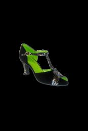 Zapato de Salón con Puntera descubierta, talón combinado con tira en medio