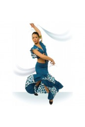 Falda Flamenco Nesgas y Godets con Vuelo de Capa Desde Encima de la Rodilla